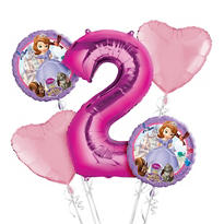 Sofia the First 2nd Birthday Balloon Bouquet 5pc
