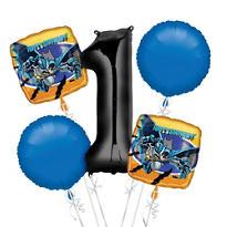 Batman 1st Birthday Balloon Bouquet 5pc