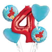 Little Mermaid 4th Birthday Balloon Bouquet 5pc