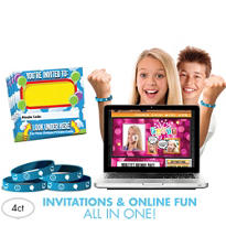 Smiley Invite Bandz Party Invitation Wristbands Add-On Pack for 4