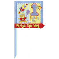 Hugs & Stitches Boy's 1st Birthday Yard Sign 14in x 16in