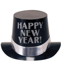 Silver and Black Happy New Years Top Hat 5in