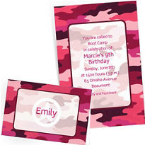 Custom Pink Camouflage Invitations & Thank You Notes