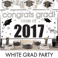 White Congrats Grad Graduation Decorations