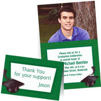 Custom Green Graduation Invitations & Thank You Notes