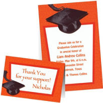 Custom Orange Graduation Invitations & Thank You Notes