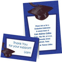Custom Royal Blue Graduation Invitations & Thank You Notes