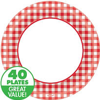 Red Gingham Value Plates & Tableware
