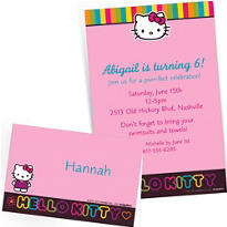 Custom Neon Hello Kitty Invitations & Thank You Notes
