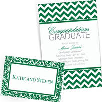 Festive Green Custom Invitations & Banners