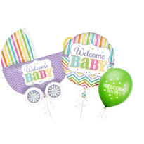 Welcome Baby Balloons - Bright Chevron Stripe