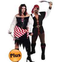 Plus Size Ruby The Pirate and Plus Size Cutthroat Pirate Couples Costumes