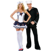 Stripe Sailor and Navy Blue Sailor Couples Costumes