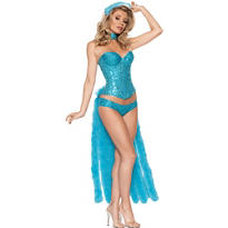 Adult Blue Showgirl Costume Deluxe