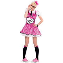 Teen Girls Nerd Hello Kitty Costume
