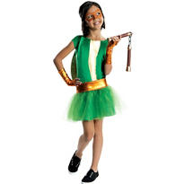 Girls Michelangelo Costume Deluxe - Teenage Mutant Ninja Turtles