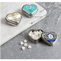 Personalized Heart-Shaped Mint Tins with Candy <br>(Printed Label)</br>