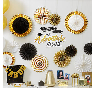 Graduation Fan Wall Decorating Idea