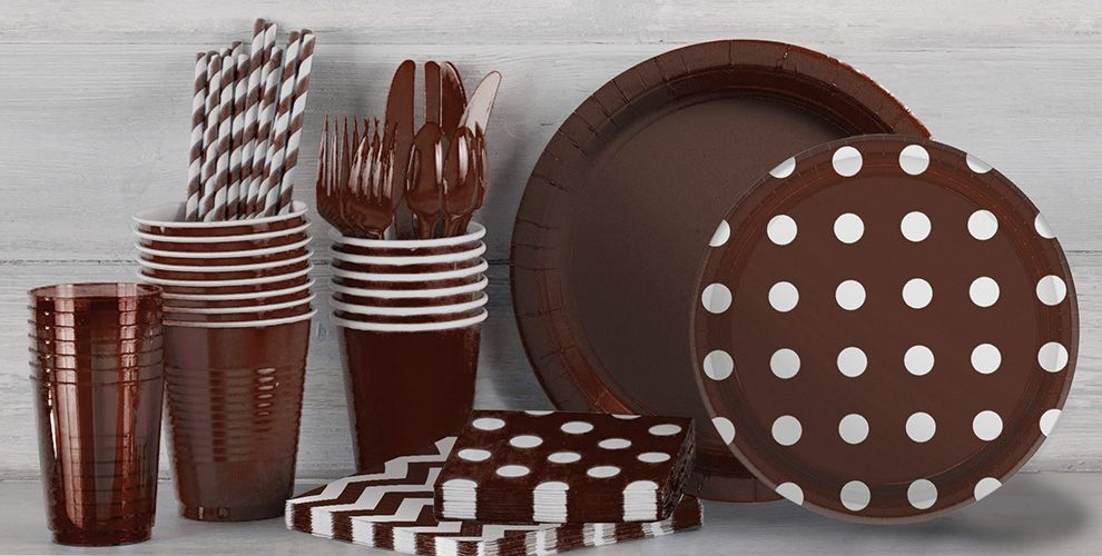 Chocolate Brown Polka Dot and Chevron Tableware