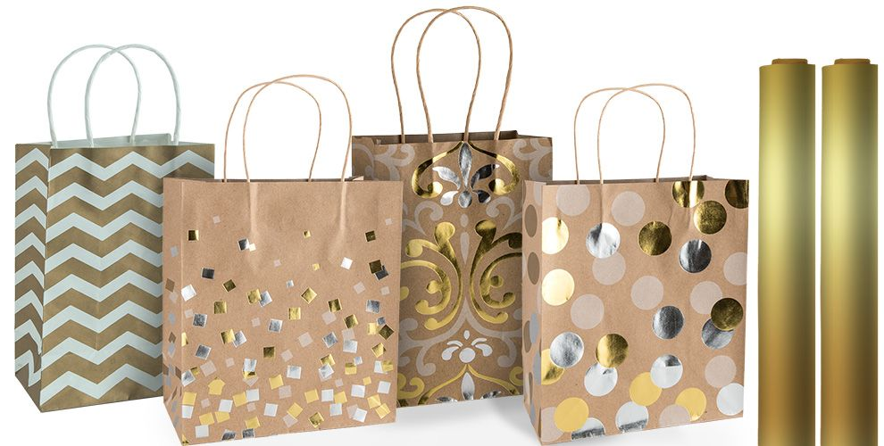 Gold gift bags gift wrap party city gold gift bags and wrap negle Image collections