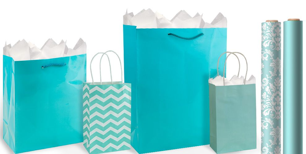 Robins egg blue gift bags gift wrap party city robins egg blue gift bags and wrap negle Image collections