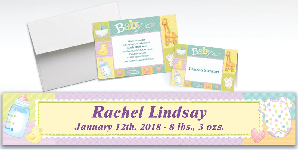 Custom Pastel Patchwork Baby Shower Invitations and Thank You Notes