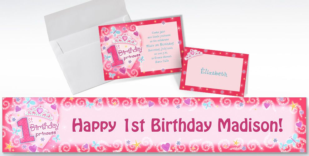Custom Princess 1st Birthday Invitations and Thank You Notes