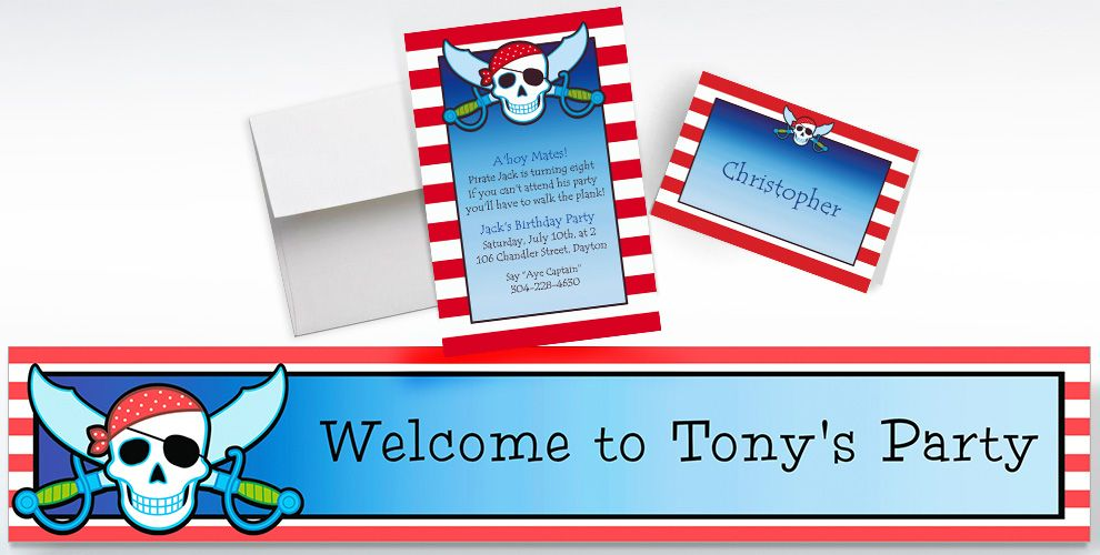 Custom Pirate Party Stripe Invitations, Thank You Notes and Banners