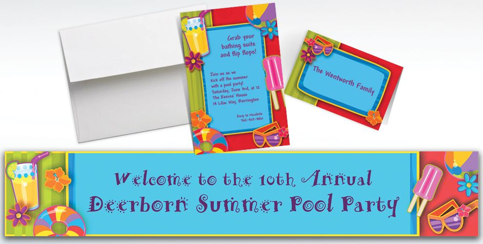 Custom Fun in the Sun Summer Invitations and Thank You Notes