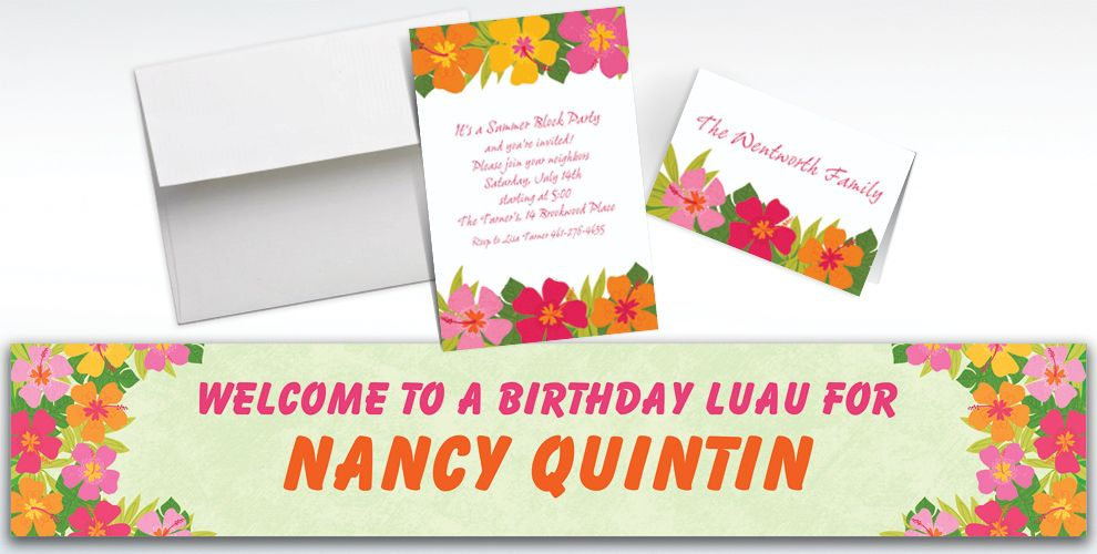 Custom Floral Paradise Warm Invitations and Thank You Notes