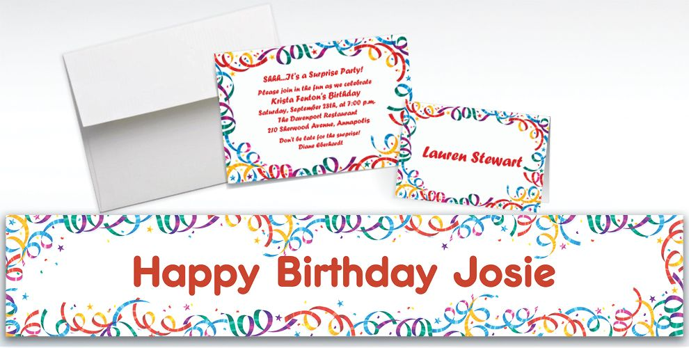 Custom Party Streamers Birthday Invitations and Thank You Notes
