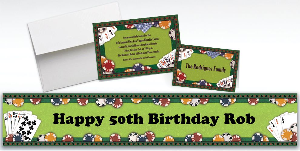 Custom Poker Party Invitations and Thank You Notes