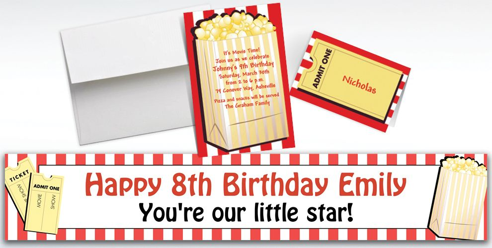 Custom Fresh Popcorn Hollywood Invitations and Thank You Notes