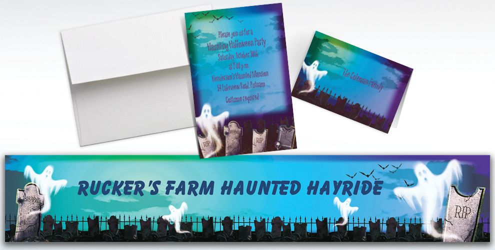 Custom Mostly Ghostly Halloween Invitations and Thank You Notes