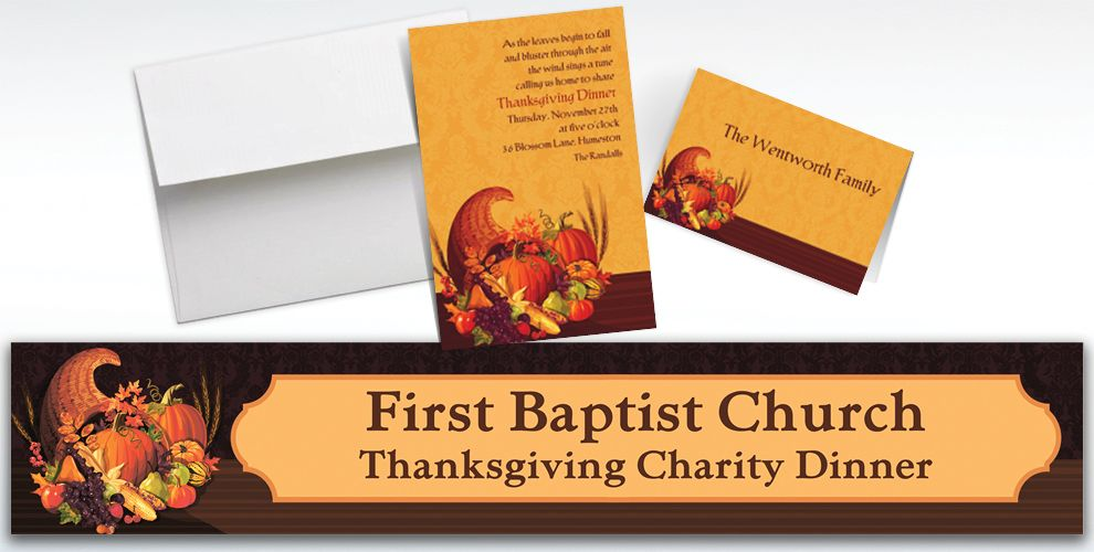 Custom November Harvest Thanksgiving invitations and Thank You Notes