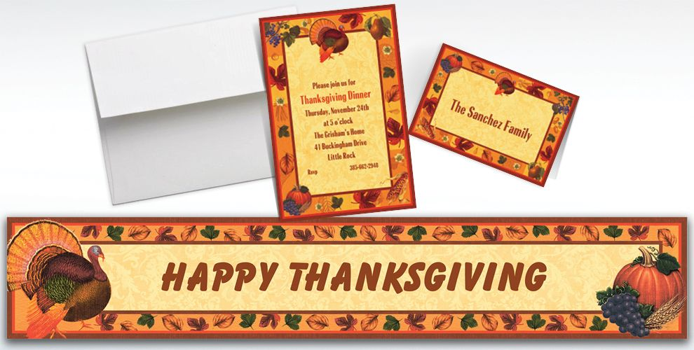 Custom Thanksgiving Scrapbook Invitations and Thank You Notes