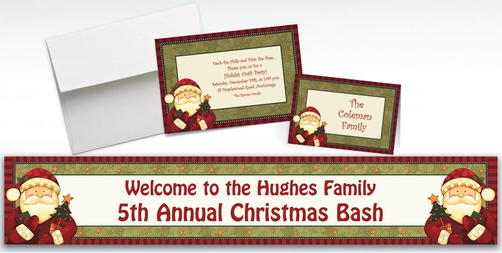 Custom Cozy Santa Invitations and Thank You Notes