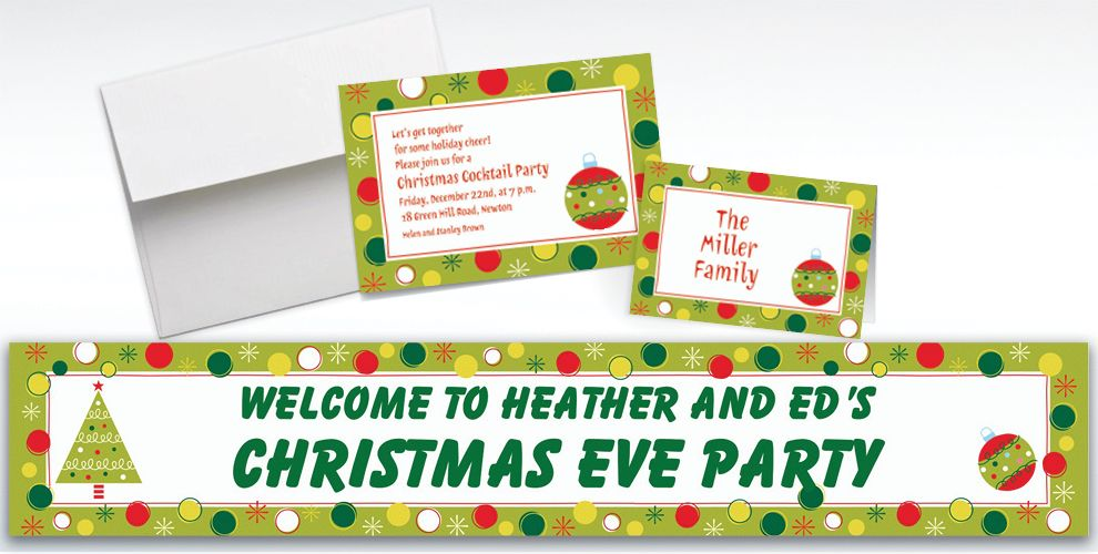 Custom Holiday Buzz Invitations and Thank You Notes