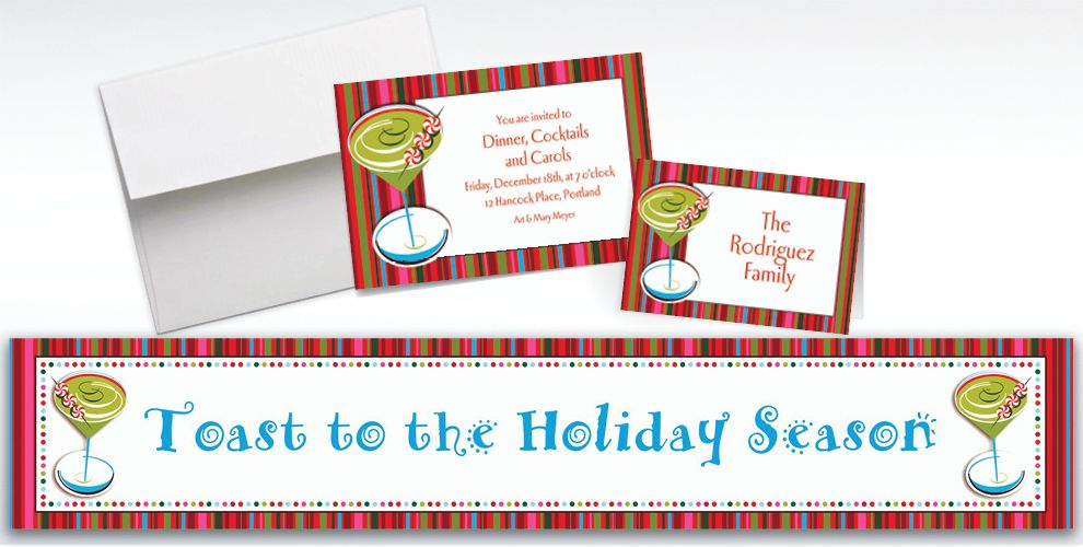 Custom Holiday Cocktail Invitations and Thank You Notes