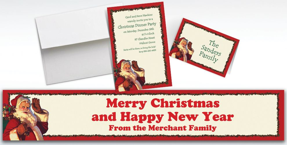 Custom Jolly St. Nick Christmas Invitations and Thank You Notes