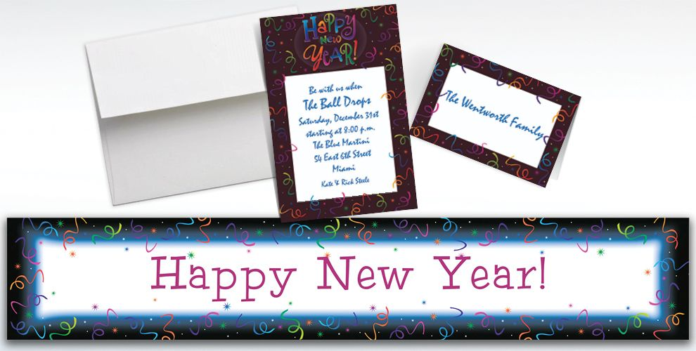 Custom Countdown Celebration New Year's Invitations and Thank You Notes
