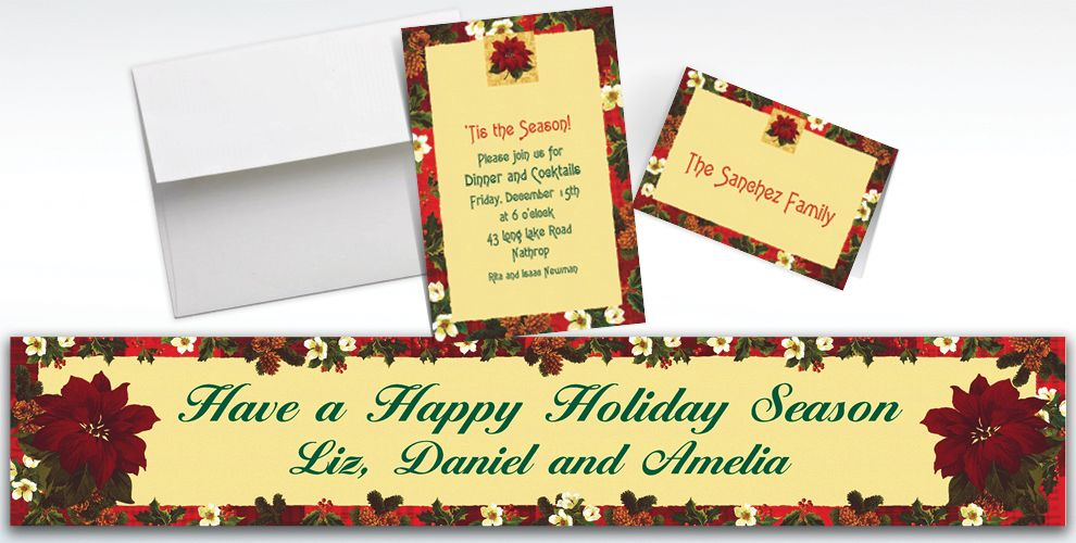 Custom Holiday Botanical Invitations and Thank You Notes