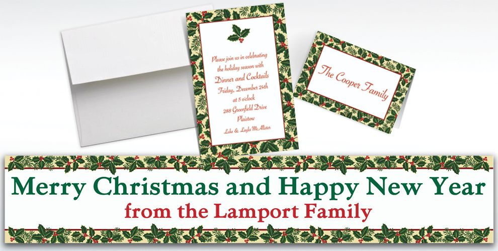 Custom Holiday Treasures Invitations and Thank You Notes