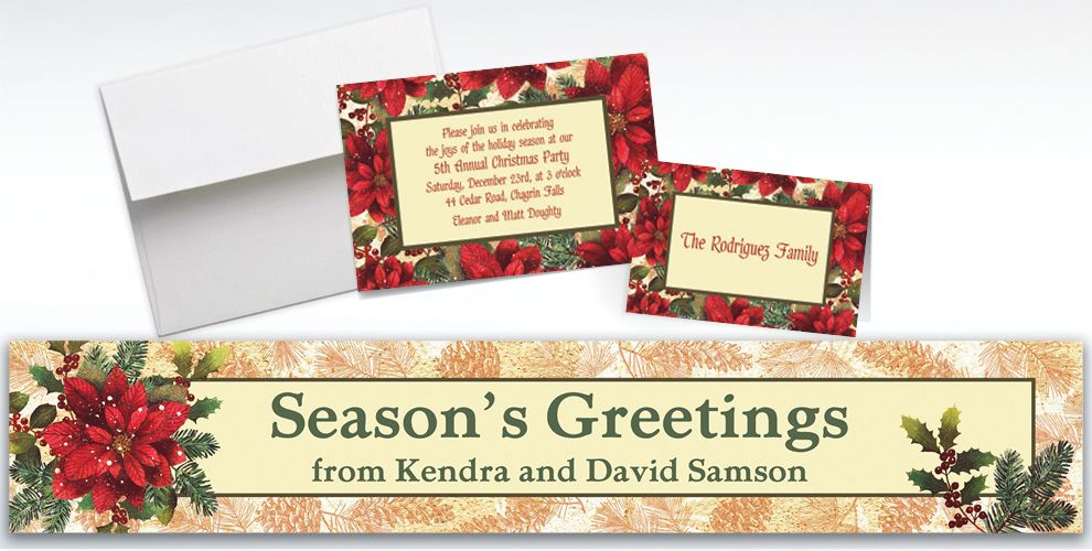 Custom Snowy Botanical Christmas Invitations and Thank You Notes