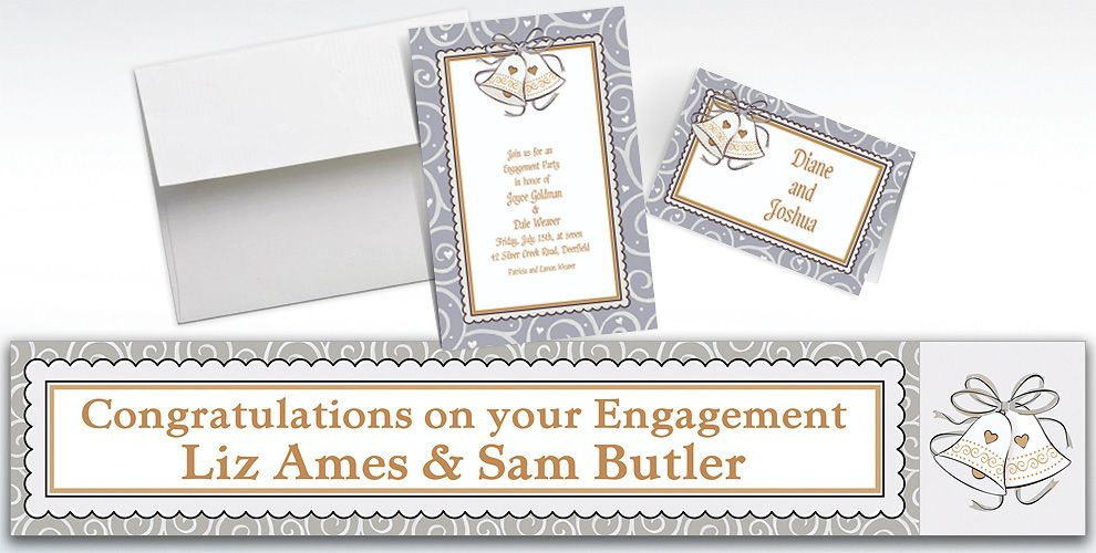 Custom Platinum Proposal Bridal Shower Invitations and Thank You Notes
