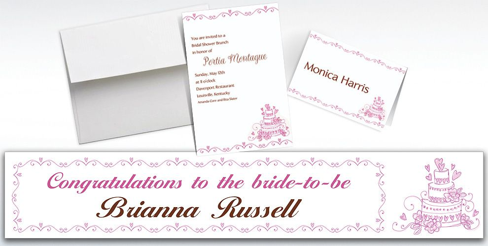 Custom Cake Bridal Shower Invitations and Thank You Notes