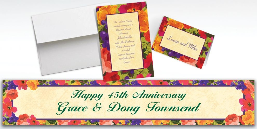 Custom Bright Blooms Invitations and Thank You Notes