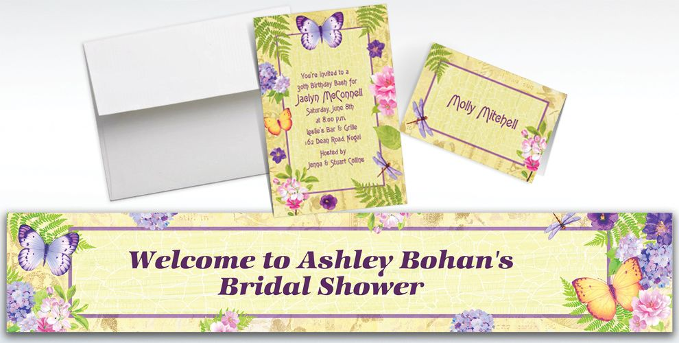 Custom In the Garden Invitations and Thank You Notes