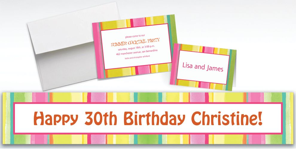 Custom Pink Sunny Stripe Invitations and Thank You Notes