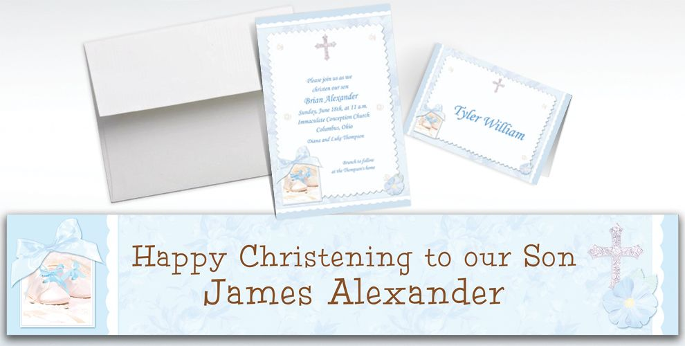 Custom Tiny Blessing Blue Invitations and Thank You Notes